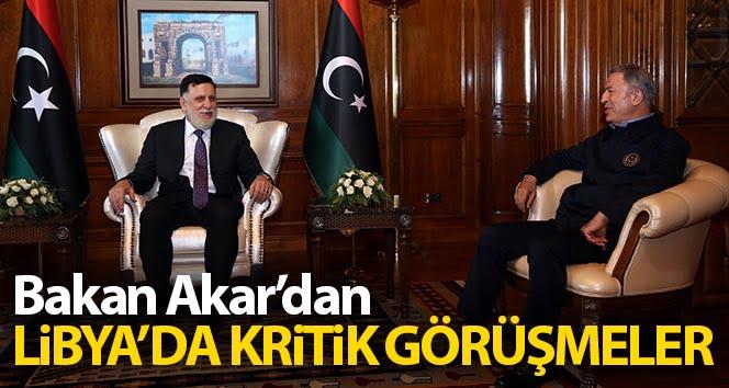 Bakan Akar'dan Libya Başbakanı Serrac ve Katar Savunma Bakanı Atiyye ile toplantı