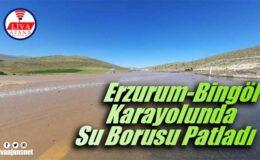 Erzurum-Bingöl Karayolunda Su Borusu Patladı