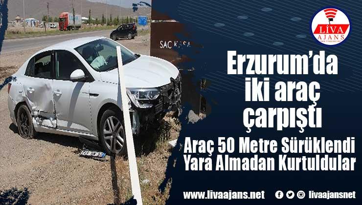 Erzurum'da iki araç çarpıştı