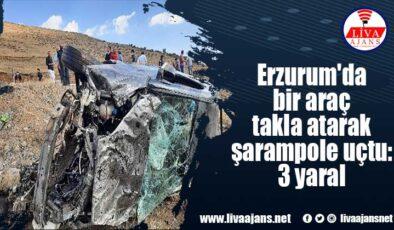 Erzurum'da bir araç takla atarak şarampole uçtu: 3 yaralı