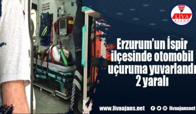 Erzurum'un İspir ilçesinde otomobil uçuruma yuvarlandı 2 yaralı